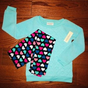 Other - NWT fleece quilted top leggings XS 4/5 2 piece set